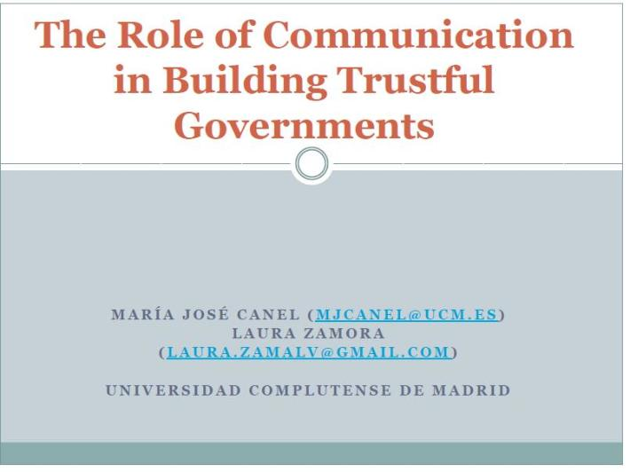 The Role of Communication in Building Trustful Governments #ecrea2014